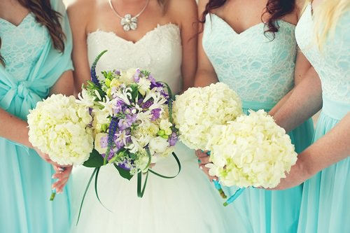 Elaborate dresses for the bridesmaids