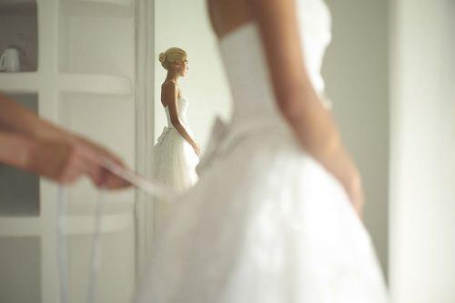 A wedding shot of everyone getting ready