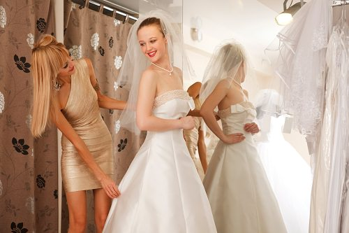 Ask your bridesmaids for advice on the wedding dress