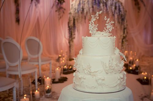 The French-themed wedding cake