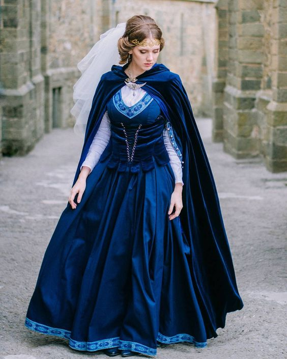 blue medieval inspired wedding dress