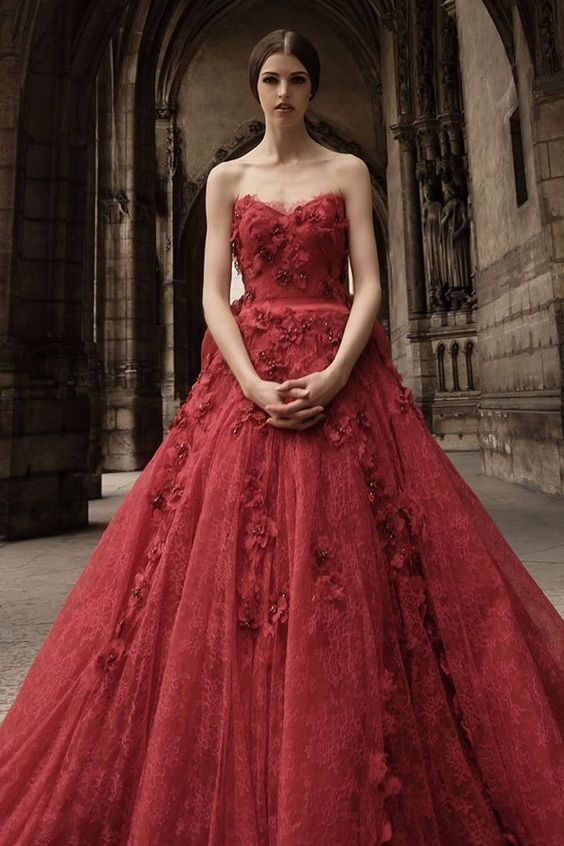 eclectic red gown