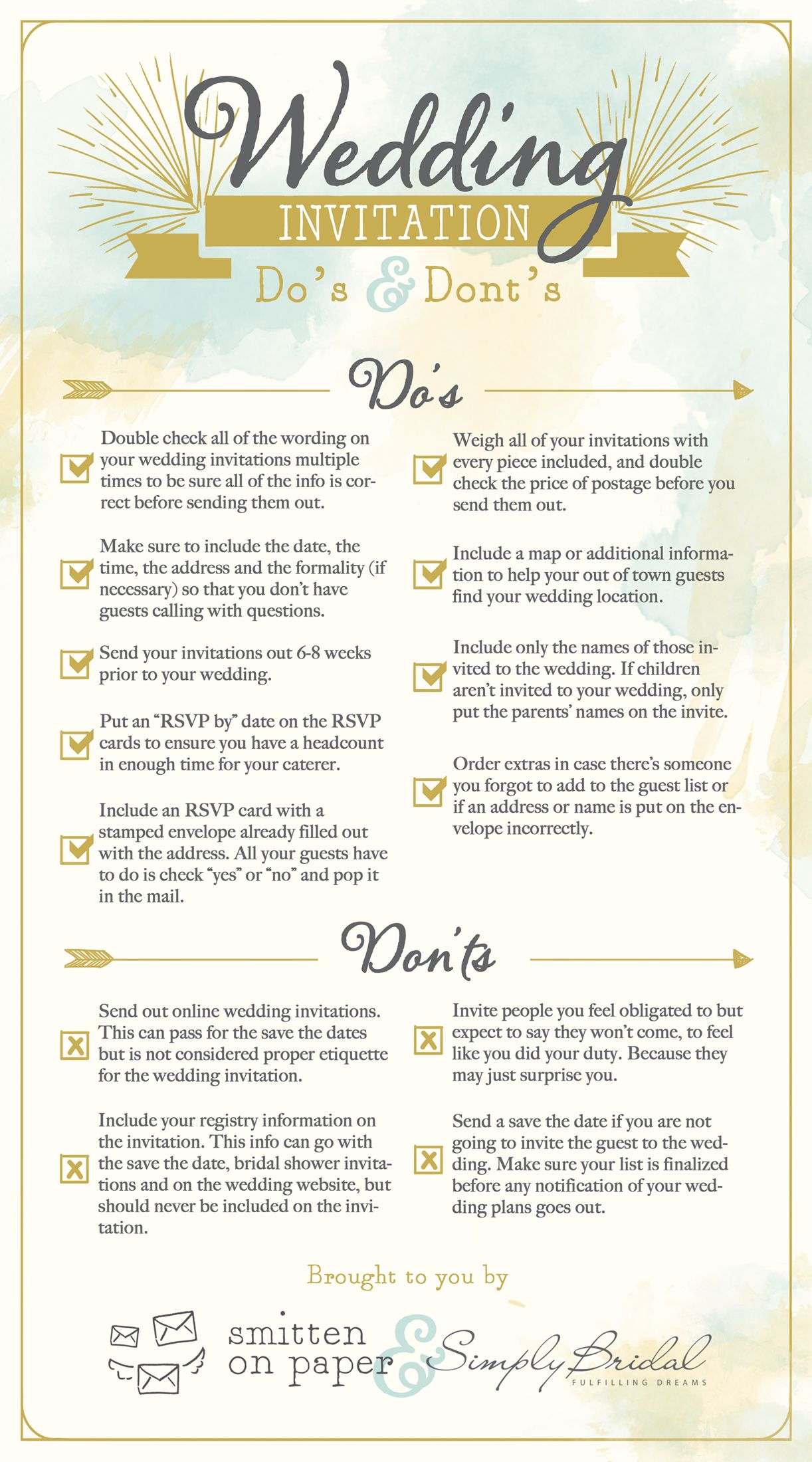 Do's And Don'ts For Your Wedding Invitations