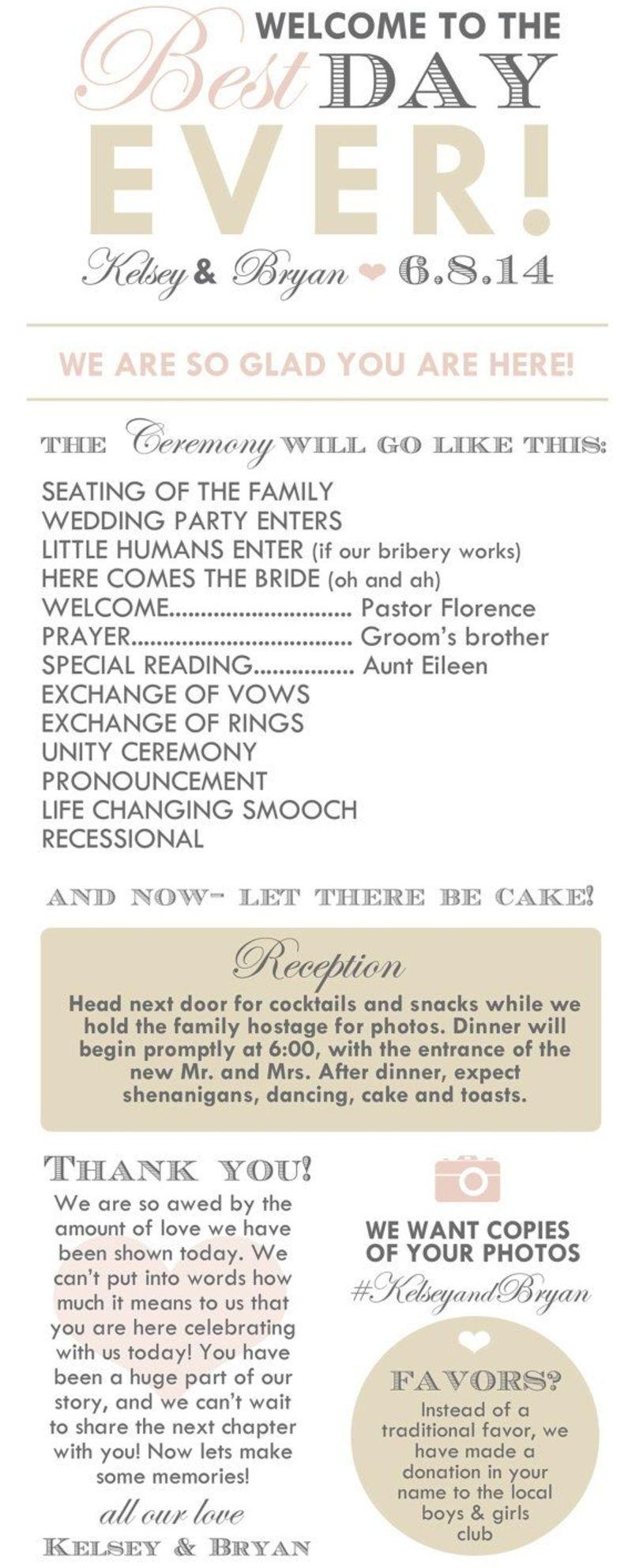 Create An Awesome Wedding Program